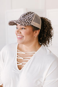 Criss Cross Ponytail Baseball Cap in Cheetah
