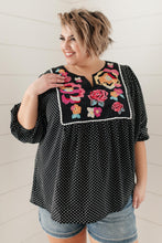 Load image into Gallery viewer, Embroidery and Dots Blouse in Black