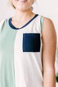 Half & Half Color Block Top In Harbor Mist
