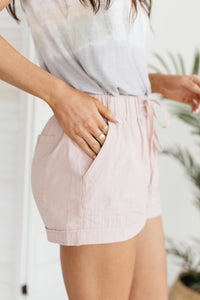 Lightweight and Linen Shorts in Baby Pink