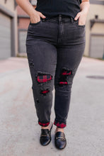 Load image into Gallery viewer, Plaid Peek-A-Boo Jeans in Black