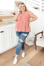 Load image into Gallery viewer, Ribbed Flutter Sleeve Top in Coral