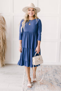 Sara Swiss Dot Dress in Slate Blue