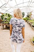 Load image into Gallery viewer, Pale Gray Camo Crisscross V-Neck