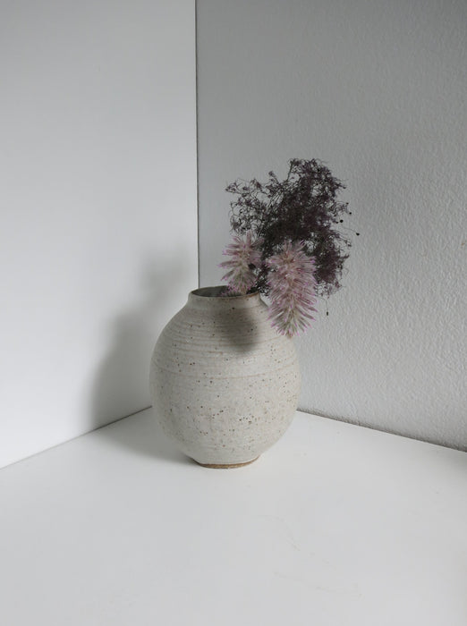 Medium Grogged Moon Vase in White