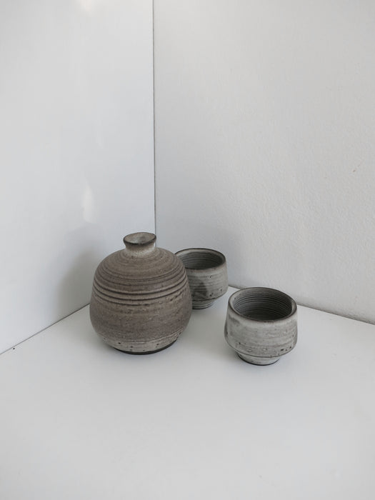Sake Set for Two in Rusty White