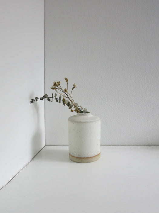 Small Narrow Bottle Vase in White