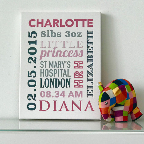 Personalised Baby Announcement Canvas