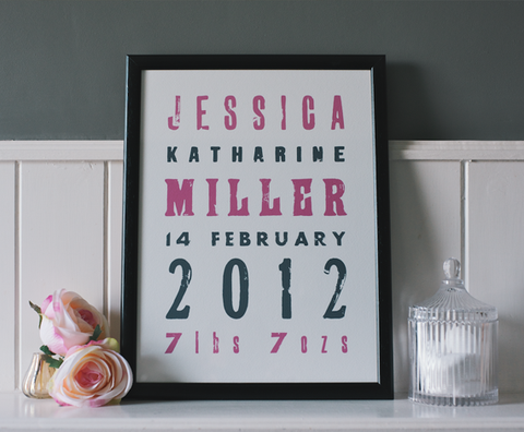 Personalised Baby Announcement - Letterpress style