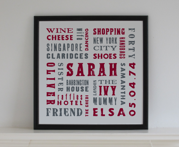 Bespoke birthday / memories artwork - Letterpress style