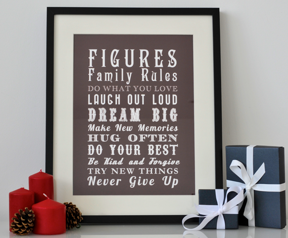 Personalised Family Rules Print - Vintage Style