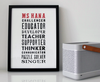 Personalised Teacher Print - Letterpress style