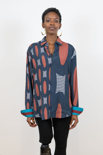 Silk Button-Up Shirt | Emily Grand - Moon