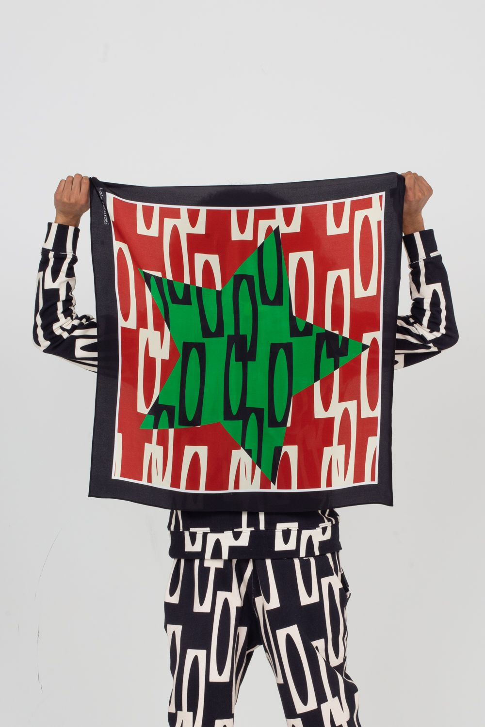 Green Star Silk Scarf | Enitan - Pupa in Crepe de Chine