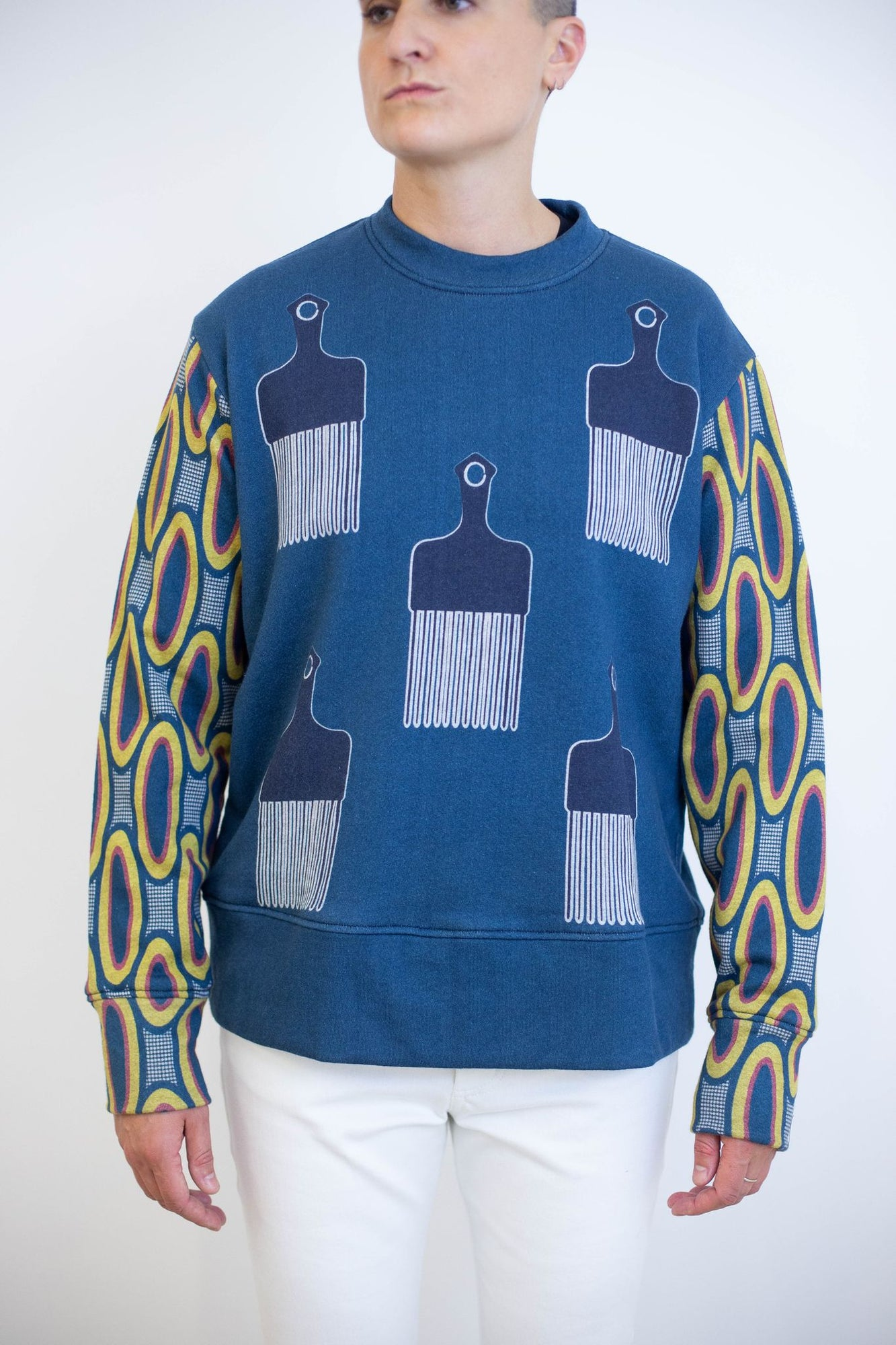 Crew Neck Terry Sweater - Navy Comb