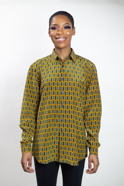 Silk Button-Up Shirt | Emily Micro - Sunrise