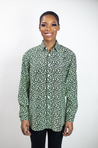 Silk Button-Up Shirt | Dolly Micro - Ice Storm