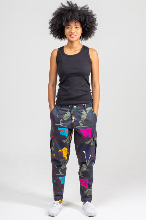 Tropical Cargo Pants | Forest Flowers