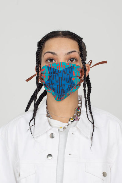 Blue Star Shirring Face Mask | Enitan - Turq