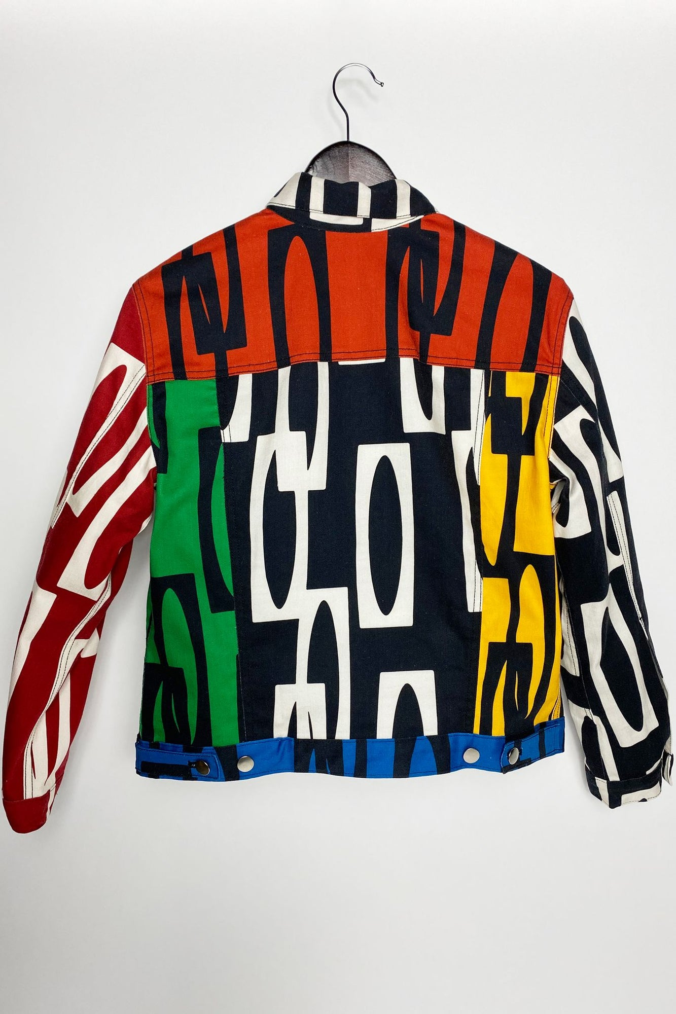 Women's Jean Color Block Jacket | Enitan - Bulu/Ige