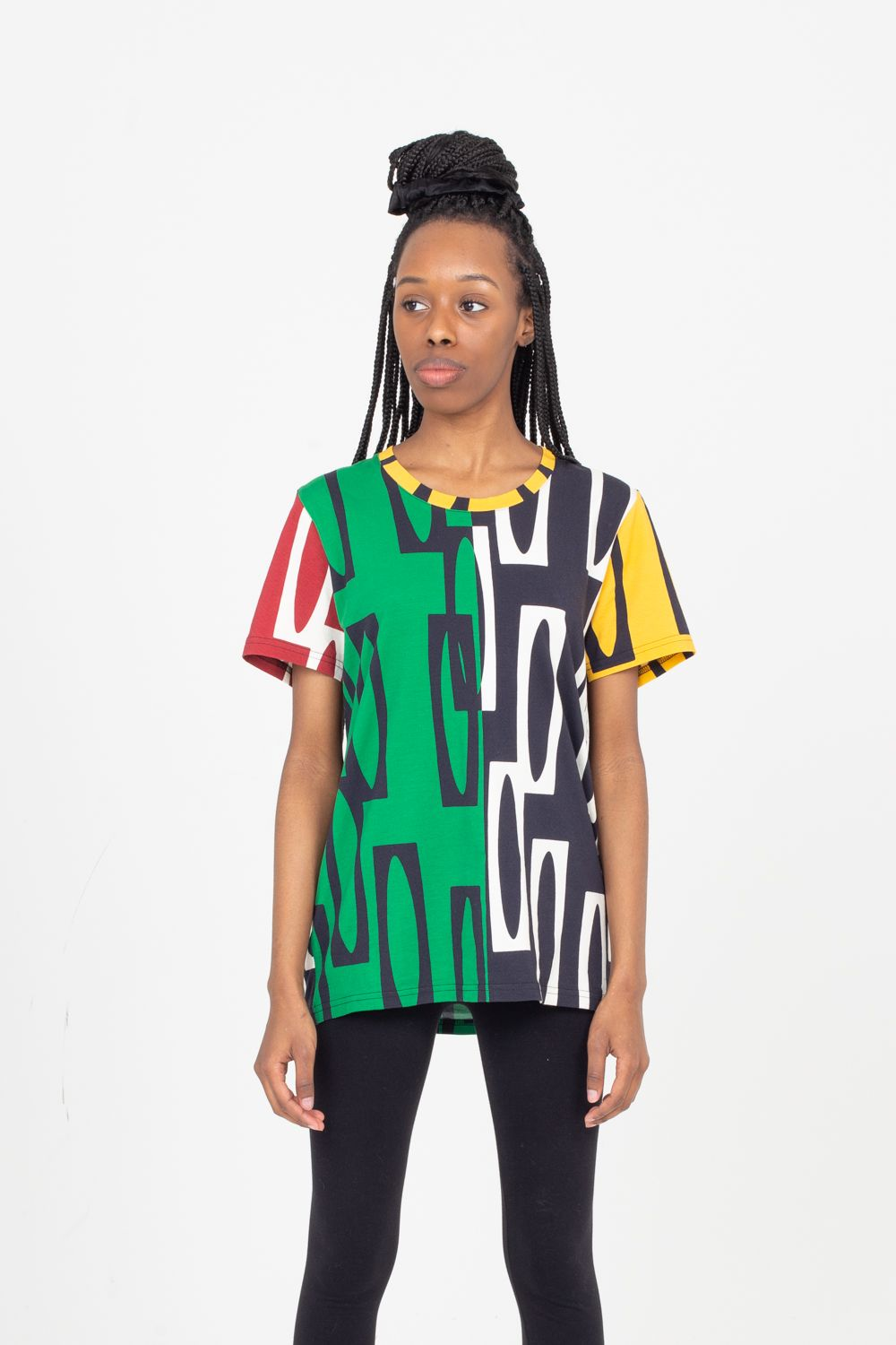 Scoop Neck T-Shirt Color Block | Enitan - Ewe/Dudu
