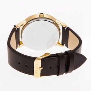 Simplify The 2800 Leather-Band Watch - Gold/Dark Brown - SIM2805