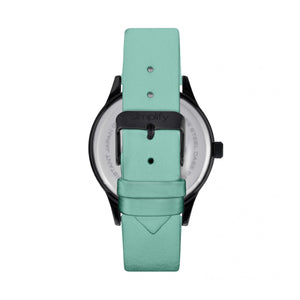 Simplify The 2400 Leather-Band Unisex Watch - Black/Seafoam - SIM2407
