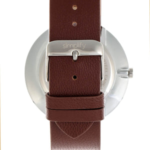 Simplify The 6400 Leather-Band Watch w/Date - Silver/Brown - SIM6402