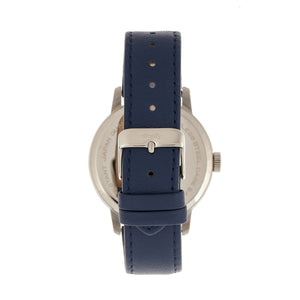 Simplify The 3400 Leather-Band Watch - Silver/Blue - SIM3404