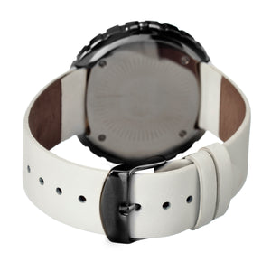 Simplify The 2100 Leather-Band Ladies Watch w/Date - Black/White/White - SIM2107