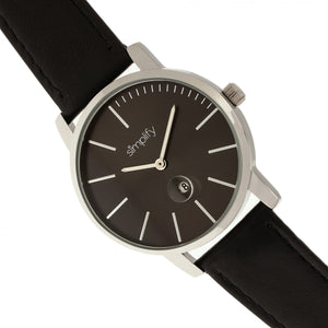 Simplify The 4700 Leather-Band Watch w/Date - Black - SIM4702