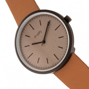 Simplify The 3000 Leather-Band Watch - Camel - SIM3007