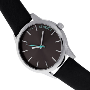 Simplify The 2400 Leather-Band Unisex Watch - Silver/Black - SIM2402