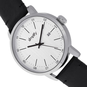 Simplify The 2500 Leather-Band Men's Watch w/ Date - Silver - SIM2501