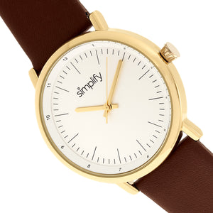 Simplify The 6200 Leather-Strap Watch - White/Brown - SIM6203