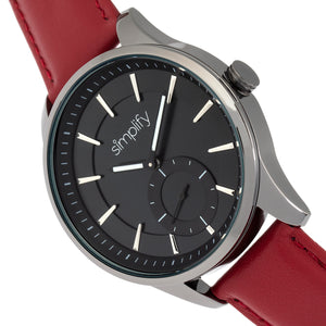 Simplify The 6600 Series Leather-Band Watch - Red/Black - SIM6604