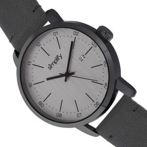 Simplify The 2500 Leather-Band Men's Watch w/ Date - Charcoal - SIM2505