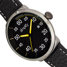 Load image into Gallery viewer, Simplify The 7100 Leather-Band Watch w/Date - Black/Yellow - SIM7105