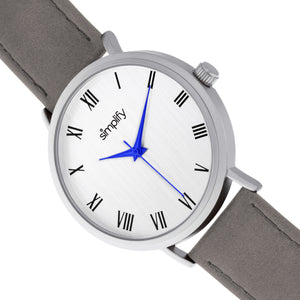Simplify The 2900 Leather-Band Watch - Silver/Charcoal - SIM2902