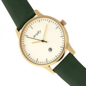 Simplify The 4300 Leather-Band Watch w/Date - Gold/Green - SIM4305