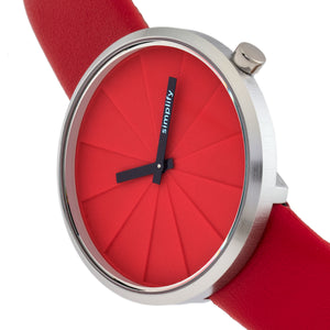 Simplify The 4000 Leather-Band Watch - Red - SIM4003