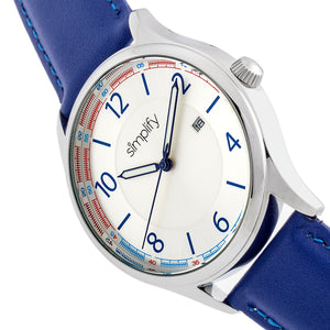 Simplify The 6900 Leather-Band Watch w/ Date - Blue - SIM6903