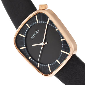 Simplify The 6800 Leather-Band Watch - Rose Gold/Black - SIM6803