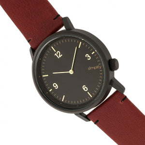 Simplify The 5500 Leather-Band Watch - Black/Maroon - SIM5503
