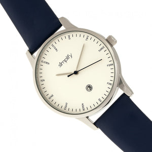 Simplify The 4300 Leather-Band Watch w/Date - Silver/Navy - SIM4304
