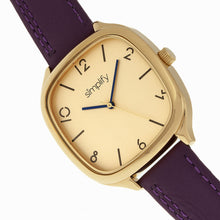Load image into Gallery viewer, Simplify The 3500 Leather-Band Watch - Gold/Plum - SIM3507