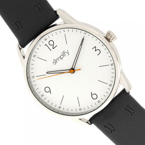 Simplify The 6300 Leather-Band Watch - Black/White - SIM6301