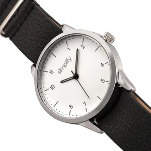 Simplify The 5600 Leather-Band Watch - White/Black - SIM5601