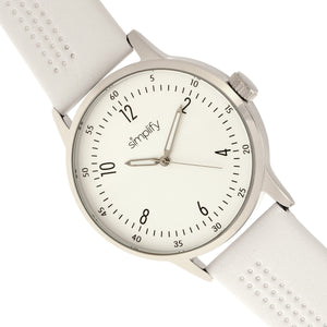 Simplify The 5700 Leather-Band Watch - White - SIM5701