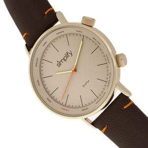 Simplify The 3300 Leather-Band Watch - Dark Brown/Gold - SIM3305